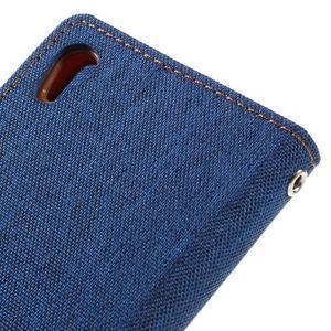 Canvas PU kožené/textilní pouzdro na mobil Sony Xperia XA - modré - 5