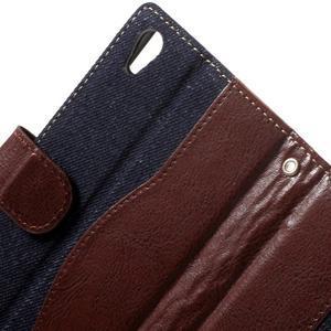 Jeansy PU kožené/textilní pouzdro na Sony Xperia XA - tmavěmodré - 5