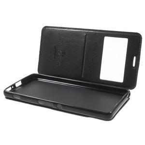 Royal PU kožené pouzdro s okýnkem na Sony Xperia XA - černé - 5