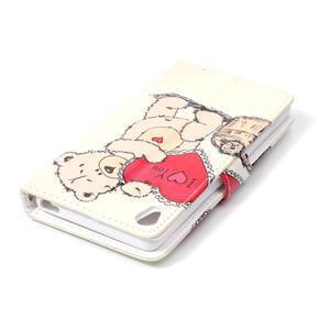 Emotive PU kožené knížkové pouzdro na Sony Xperia XA - medvídek - 5