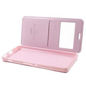 Royal PU kožené pouzdro s okýnkem na Sony Xperia XA - růžové - 5
