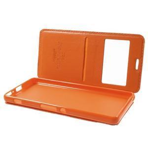 Royal PU kožené pouzdro s okýnkem na Sony Xperia XA - oranžové - 5