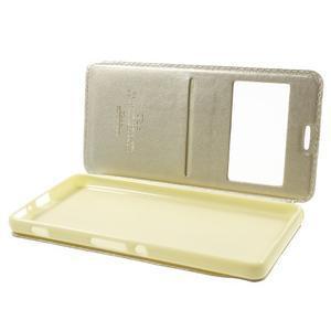 Royal PU kožené pouzdro s okýnkem na Sony Xperia XA - zlaté - 5