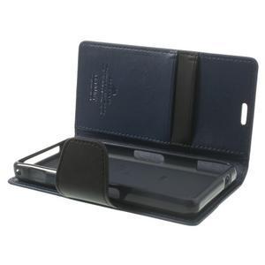 Sonata PU kožené pouzdro na mobil Sony Xperia Z1 Compact - tmavěmodré - 5