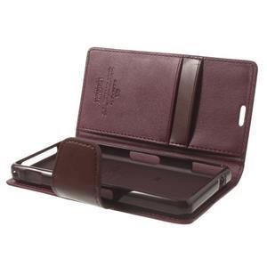 Sonata PU kožené pouzdro na mobil Sony Xperia Z1 Compact - vínové - 5