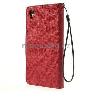 Stylové peněženkové pouzdro na Sony Xperia Z2 - červené/černé - 5