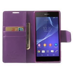 Sonata PU kožené pouzdro na mobil Sony Xperia Z2 - fialové - 5
