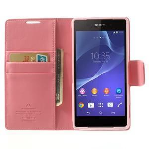 Sonata PU kožené pouzdro na mobil Sony Xperia Z2 - růžové - 5