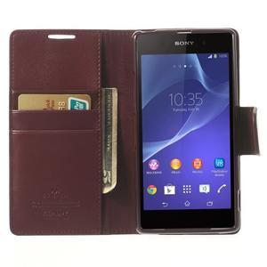 Sonata PU kožené pouzdro na mobil Sony Xperia Z2 - vínové - 5