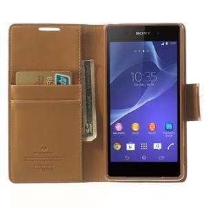 Sonata PU kožené pouzdro na mobil Sony Xperia Z2 - hnědé - 5