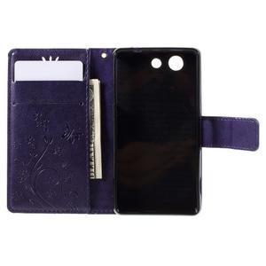 Butterfly PU kožené pouzdro na mobil Sony Xperia Z3 Compact - fialové - 5