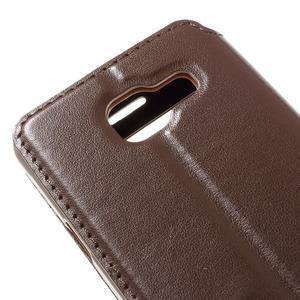 PU kožené pouzdro s okýnkem na Samsung Galaxy A3 (2016) - hnědé - 5