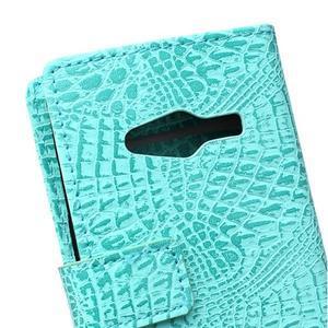 Croco peněženkové pouzdro na Samsung Galaxy Trend 2 Lite - cyan - 5