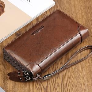 Weix peněženka z pravé kůže s přihrádkami - hnědá - 5