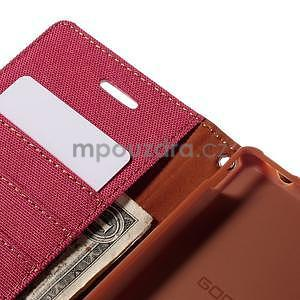 Canvas textilní/koženkové pouzdro na Sony Xperia M4 Aqua - červené - 5