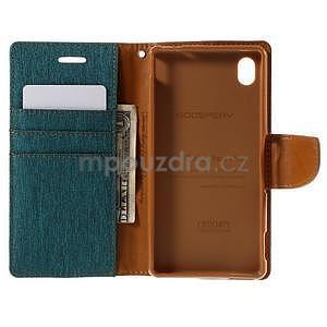 Canvas textilné / koženkové puzdro na Sony Xperia M4 Aqua - zelenomodré - 5