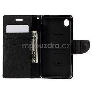 Canvas textilní/koženkové pouzdro na Sony Xperia M4 Aqua - černé - 5