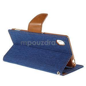 Canvas textilní/koženkové pouzdro na Sony Xperia M4 Aqua - modré - 5