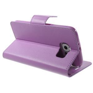 Diary PU kožené pouzdro na mobil Samsung Galaxy S6 -fialové - 5