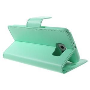 Diary PU kožené pouzdro na mobil Samsung Galaxy S6 -cyan - 5