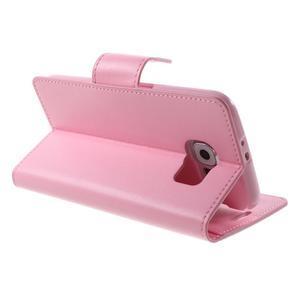 Diary PU kožené pouzdro na mobil Samsung Galaxy S6 -růžové - 5