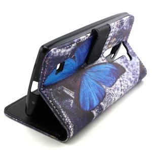 Peneženkové pouzdro na mobil LG G4c - modrý motýl - 5