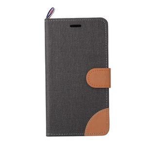 Jeans PU kožené/textilní pouzdro na mobil Lenovo P70 - černé - 5