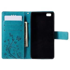 Butterfly PU kožené pouzdro na Huawei Ascend P8 Lite - modré - 5