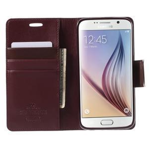 Diary PU kožené pouzdro na mobil Samsung Galaxy S6 - vínové - 5