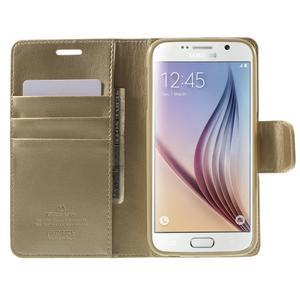 Diary PU kožené pouzdro na mobil Samsung Galaxy S6 - zlaté - 5