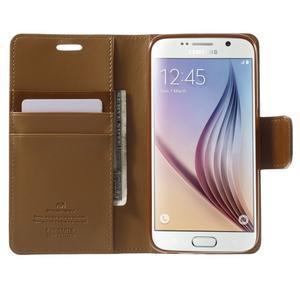 Diary PU kožené pouzdro na mobil Samsung Galaxy S6 - hnědé - 5