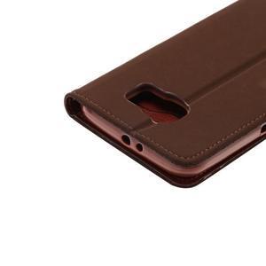 Business látkové/PU kožené pouzdro na Samsung Galaxy S6 - hnědé - 5