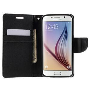 Luxury textilní/koženkové pouzdro na Samsung Galaxy S6 - černé - 5
