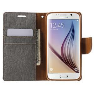 Luxury textilní/koženkové pouzdro na Samsung Galaxy S6 - šedé - 5