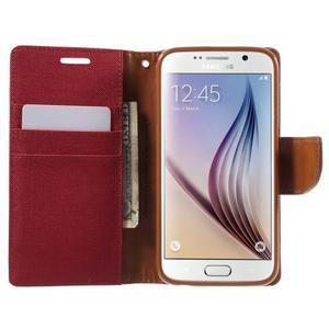Luxury textilní/koženkové pouzdro na Samsung Galaxy S6 - červené - 5