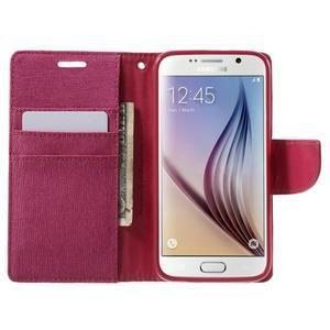 Luxury textilní/koženkové pouzdro na Samsung Galaxy S6 - rose - 5