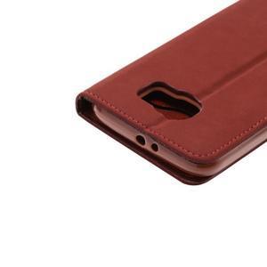 Business látkové/PU kožené pouzdro na Samsung Galaxy S6 - červenohnědé - 5