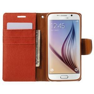 Luxury textilní/koženkové pouzdro na Samsung Galaxy S6 - oranžové - 5