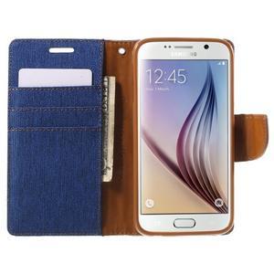 Luxury textilní/koženkové pouzdro na Samsung Galaxy S6 - modré - 5