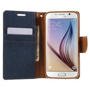 Luxury textilní/koženkové pouzdro na Samsung Galaxy S6 - jeans - 5