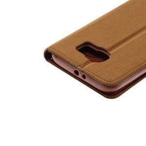 Business látkové/PU kožené puzdro pre Samsung Galaxy S6 - svetlo hnedé - 5