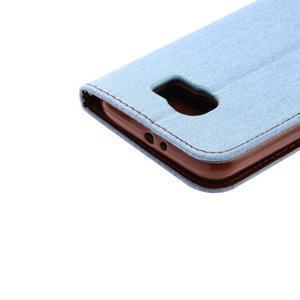 Cloth peněženkové pouzdro pro Samsung Galaxy S6 - světlemodré - 5