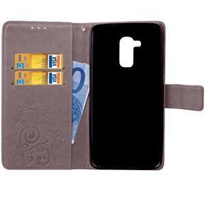 Buttefly PU kožené pouzdro na mobil Honor 7 Lite  - šedé - 5