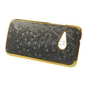 Plastový kryt se zlatým lemem na HTC One mini 2 - černý - 5