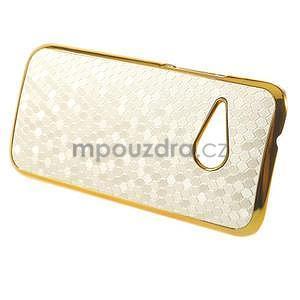 Plastový kryt se zlatým lemem na HTC One mini 2 - bílý - 5