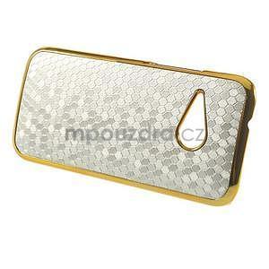 Plastový kryt se zlatým lemem na HTC One mini 2 - stříbrný - 5