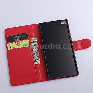 PU kožené peněženkové pouzdro na Huawei Ascend P8 - červený - 5