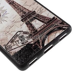Gelový kryt s koženými zády na Huawei Ascend P8 - Eiffelova věž - 5