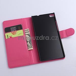 PU kožené peněženkové pouzdro na Huawei Ascend P8 - rose - 5