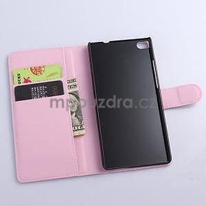 PU kožené peněženkové pouzdro na Huawei Ascend P8 - růžový - 5